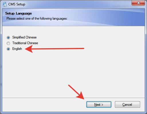 Выбор языка в программе установки
